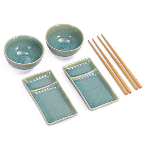 Diseño Sushi Juego compuesto de dos platos de sushi con ausnehmung para salsa de soja y wasabi, o dos cuencos para sopa de miso arroz, y dos pares de palillos de bambú. los platos y cuencos son