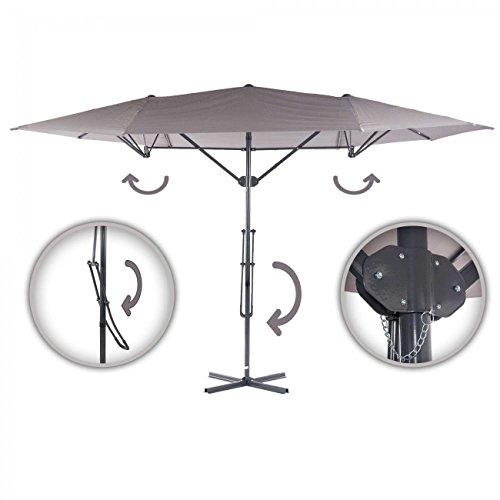 Strattore parasol déporté avec un mécanisme à levier jusqu'à 4,25 x 2,5 m gris