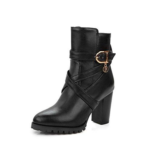 Voguezone009 donna scarpe a punta puro bassa altezza tacco alto stivali con fibbia, nero, 41