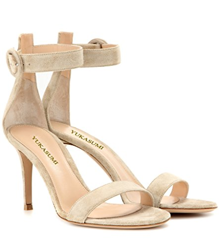 EDEFS Femmes Artisan Fashion Sandales Simples Elégants Lanière Bride à Cheville Des Couleurs Chaussures à Talon Haut de 100mm Argenté Chameau-L-8.5cm