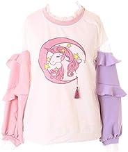 TS-225 roze paars ruches mouwen Magic Unicorn eenhoorn pastel god lange mouwen shirt Kawaii