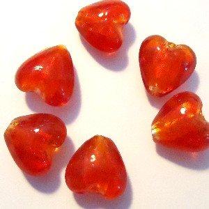 10pezzi 12mm Argento Foil Cuore Perline di Vetro, Rosso brillante-A3944