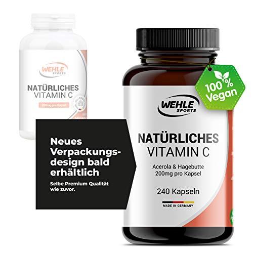 Natürliches Vitamin C Hochdosiert - 240 Vegane Kapseln 4 Monatsvorrat Acerola-Extrakt Und Hagebutten-Extrakt 400mg Reines Vitamin C Pro Tagesdosis (2 Kapseln) Laborgeprüft