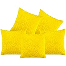 Belive-Me 40X40cm Velvet Cushion Cover - Yellow(Pack of 5)