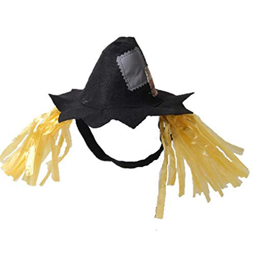 POPETPOP Halloween Kostüm Vogelscheuche Hüte Heimtierbedarf Cosplay Zubehör Caps Hood für Hund Katze Größe L (Vogelscheuche Kostüm Zubehör)