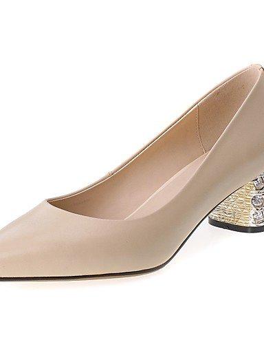 WSS 2016 Chaussures Femme-Bureau & Travail / Décontracté-Noir / Amande-Gros Talon-Confort / Bout Pointu-Chaussures à Talons-Cuir almond-us5 / eu35 / uk3 / cn34