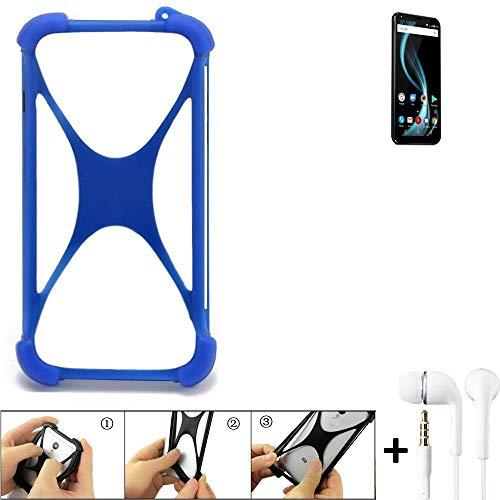 K-S-Trade Bumper für Allview X4 Soul Infinity Plus Schutzhülle Handyhülle Silikon Schutz Hülle Cover Case Silikoncase Silikonbumper TPU Softcase Smartphone, Blau (1x), Headphones