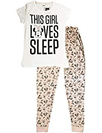 9dd09ca4b Disney DISMF53046289 Womens Minnie Mouse Pyjama Set Cotton White Peach