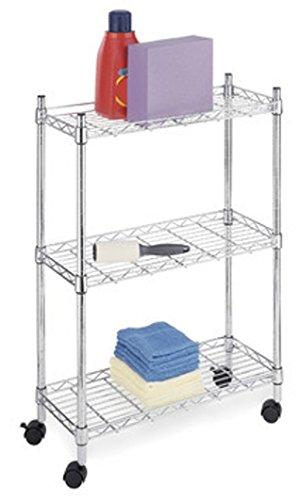 Carrello da cucina in acciaio cromato, mensole in filo cromato misura 45x90x8...
