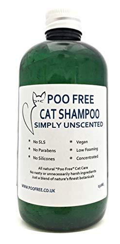 CHAMPÚ PARA GATOS- 250 ml - Poo Free - Sin SLS, sin parabenos, sin productos químicos, sin conservantes. Un champú concentrado refrescante y calmante con glucósidos naturales para limpiar y acondicionar el pelo de tu gato. Limpia, suaviza, hidrata, alivia y elimina gérmenes y olores. Fórmula concentrada para diluir, espuma baja con fácil enjuague.