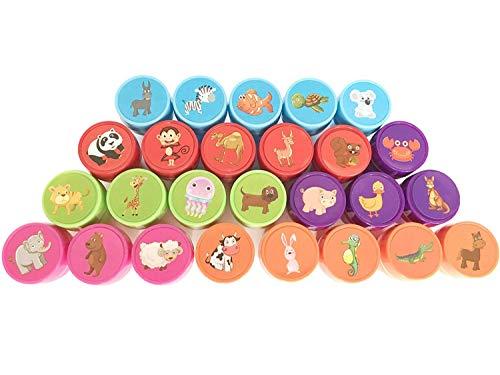 Green Seedlings Stempel Kinder Set 26 Stück, Niedliche Spielzeug Stempel aus Plastik für Spiel, Spaß, Hobby und Mehr