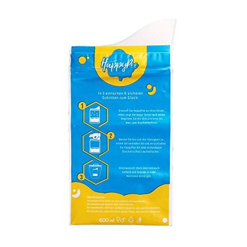 HappyPee Original - Dein Einweg Wegwerf Urinal für den Notfall | Mit Auslaufsicherem Zippverschluss + Gratis Taschentuch | Geeignet für Damen Herren & Kinder | 10 Stück +1 Gratis