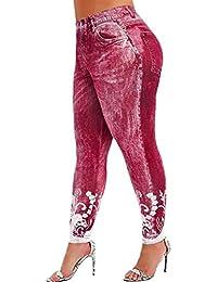 ღLILICATღ Leggings Deportes Pantalones para Mujeres de Moda Estampado de Jeans de imitación con Cintura Alta Ajustados elásticos de Pantalones de Cintura Alta Stretch Yoga Pantalones Grande Tamaño