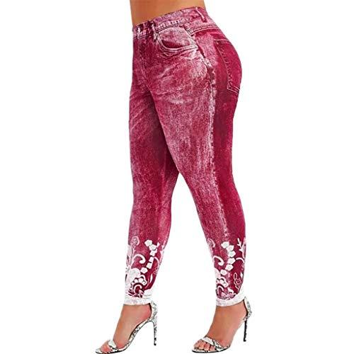 Dragon868_Pantaloni Pantaloni Donna Elegante Skinny Vita Alta Elastica Stampa della Floreale Leggings Sportive Trousers Running Partito Yoga Pizzo