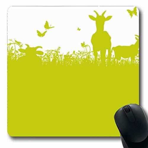 Luancrop Mousepads Ökologie-Ziegen auf grünen Wiesen-Blättern Lamm-Herbst-Weibchen-Entwurfs-Gras-rutschfeste Spiel-Mausunterlage Gummilangmatte (Blatt Lamm)