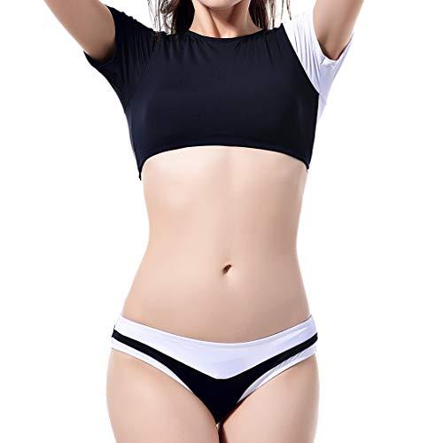 Manadlian Damen Push up Einteiler Bademode Frauen Aufgefüllte Farbe Matching Halbe Hülse Bikini Zwei Stück Baden Badebekleidung für Frauen Mädchen