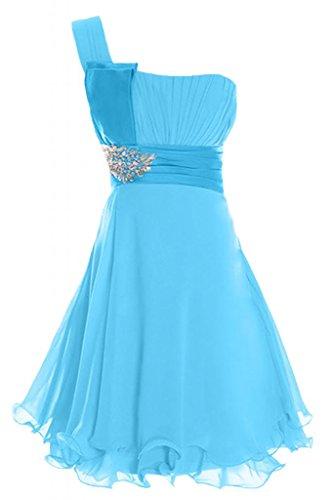 Sunvary Chiffon Una spalla, in Chiffon Prom Dress-Vestito Homecoming-Abito da Cocktail Blue