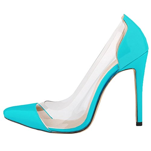 HooH Femmes Transparent Splicing Pointu Stiletto Escarpins Turquoise