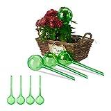 Relaxdays Set 8X Sfere per irrigazione, dosatori d'Acqua per Piante da Vaso, Ornamentali, Durata 2 Settimane, in plastica, Verde