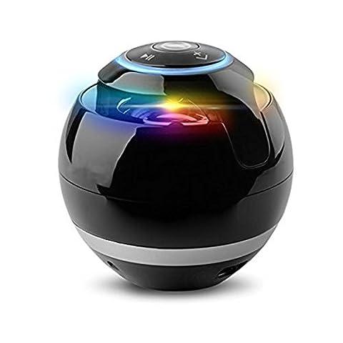 Portable Wireless Mini Bluetooth Lautsprecher Super Bass Sound Box und Mic TF Karte spielen FM Radio mit LED Licht , black