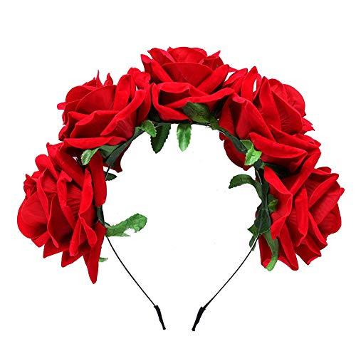 Hacoly Haarreifen Blume Stoff Rose Kopfschmuck Karnevalskostüme Zubehör Stirnband Haarkranz Brautbrautjungfern Haarband für Damen Mädchen Hochzeit Party-Rot (La Muerte Kostüm Kinder)