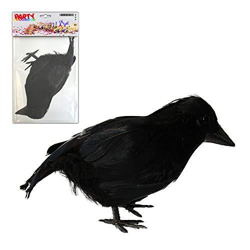 Vogelscheuche Kostüm Kleine - PARTY DISCOUNT ® Rabe, ca. 12 cm, mit echten Federn