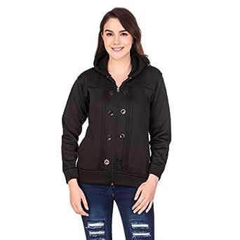 Kiba Retail Woolen Blend Casual Wear Full Sleeves Sweatshirt for Girl's/Women's, Pack-1 (Color-Multicolor,Size-S, M, L, XL) Black