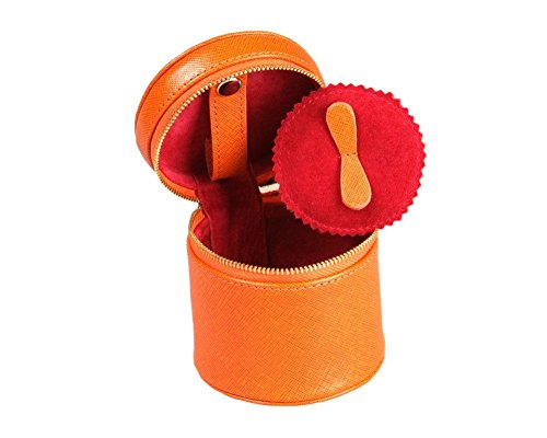 SageBrown Orange Cylindrical Jewellery Case