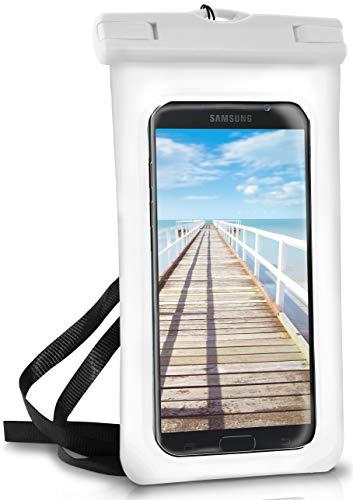 ONEFLOW Wasserdichte 360° Handy-Hülle für Samsung A + J Reihe [Full-Body Cover] Touch-Funktion und Kamera-Fenster + Armband und Schlaufe zum Umhängen, Weiß