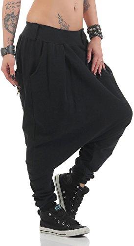 malito Damen Haremshose mit tiefem Schritt | Jogginghose in Unifarben | Baggy zum Tanzen | Sweatpants �?Aladinhose 91086 Schwarz