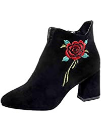 1c2ca04fcd8f HCFKJ Classic fashion Women Western Ankle Boots Side Zipper Thick with High  Heel Casual Embroidery Flowers