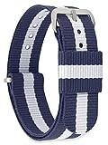 MOMENTO Damen Herren NATO Nylon Uhren-Armband Ersatz-Armband Uhren-Band mit Edelstahl-Schliesse in Silber und Blau Weiss Gestreift 14mm