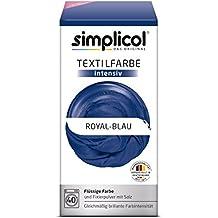 Simplicol Textilfarbe intensiv I Textilfärbung für die Waschmaschine I Färbemittel und Fixierpulver | Royal-Blau 1809