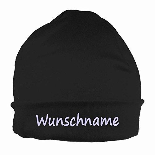 Text Beanie (Mütze uni schwarz mit Namen oder Text personalisiert für Baby oder Kind aus 100% Baumwolle mit UV-Schutz)