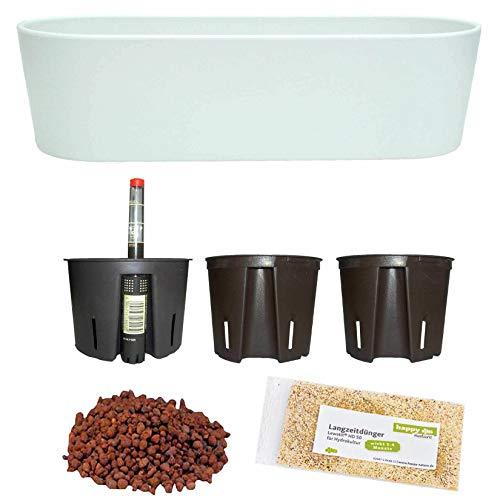 Set7 7 teilig Kunststoff Flori Pflanzschale weiss für Hydrokultur L 51.0 cm B 18.5 cm H 15.0 cm