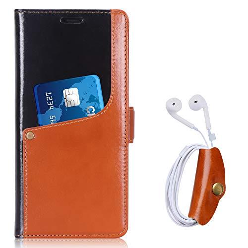 toplive Note 9Fall, luxuriöser Echtes Rindsleder Geldbörse Leder Case Kopfhörer Halter Samsung Galaxy Note 92018, Braun - Aus Kopfhörer-case Leder