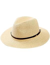 iBaste Verano Sombrero Paja de Ala Ancha Gorra de Playa Panamá Remache de  Cuero Decoración Jazz ebbe46b1301