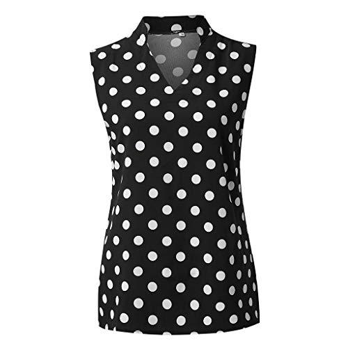 RODMA Damen Sommer Polka Dot Ärmellos V-Ausschnitt Tunika Shirt Tops Bluse - Kind 50 S Polka Dot Rocker