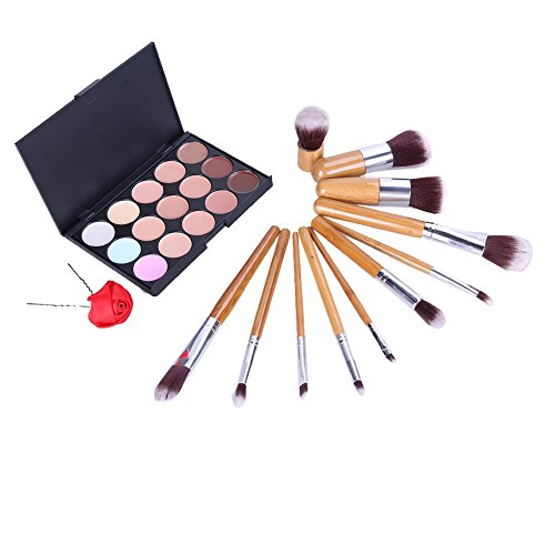 Domybest 11 pinceaux de maquillage Outil Cosmétique Fard à paupières Pinceaux de fond de teint 15 couleurs Correcteur