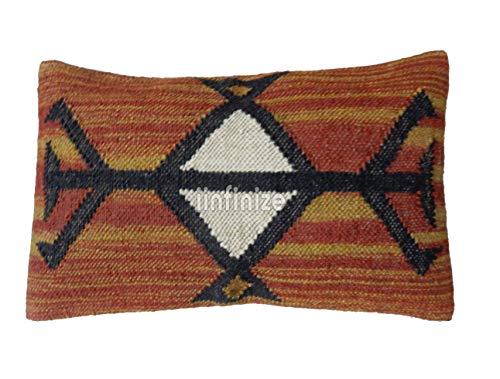 IINFINIZE Indischen rechteckig Kelim Teppich Euro Sham Jute Bohemian Outdoor 30x 60cm Kopfkissen, Dekorativer Überwurf-, Indian Kissenbezug, Boho Kissen Fällen -
