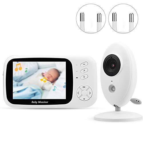 Monitor Video Bebés, 5 pulgadas LCD 2.4GHz Wireless Baby Monitor IR cámara con Visión nocturna, conversación bidireccional, temperatura ambiente, Cámara vídeo seguridad del sueño del bebé.(eu)