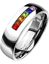 Paula & Fritz® Ring aus Edelstahl Chirurgenstahl 316L Zirkoniareihe in Regenbogenfarben verfügbare Ringgrößen 47 (15) – 69 (22) R-M2154