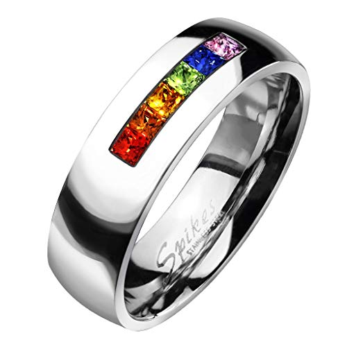 Paula & Fritz® Ring aus Edelstahl Chirurgenstahl 316L Zirkoniareihe in Regenbo. (Damen-mode Ringe Größe 9)
