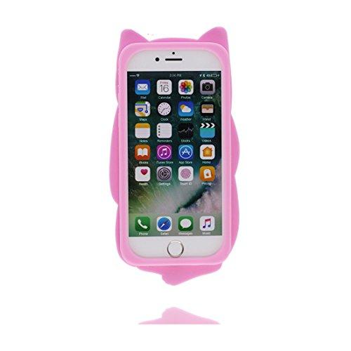 iPhone 7 Custodia, [ TPU protezione Premium Shell ] iPhone 7 Copertura, Cartoon durevole Case Cover per iPhone 7 (3D Pink gatto) rosa