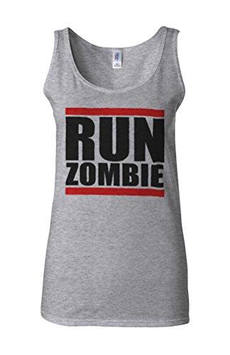 Run Zombie Run Novelty White Femme Women Tricot de Corps Tank Top Vest Gris Sportif