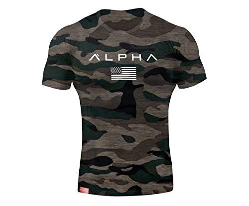 Herren Frühling Sommer Oansatz Kurzarm Camouflage Print T-Shirt (M, Tarnung mit Aufdruck)