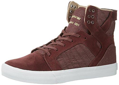 Supra Herren Skytop Sneaker, Rot (Mahogany-White), 40.5 EU Supra Schuhe Sneaker Herren Rot