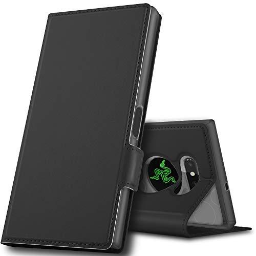 GeeMai Razer Phone 2 Hülle, Leder Hülle Flip Case Wallet Stylish mit Standfunktion & Magnetisch Ledertasche Schutzhülle handyhüllen für passt für Razer Phone 2 Smartphone, Schwarz