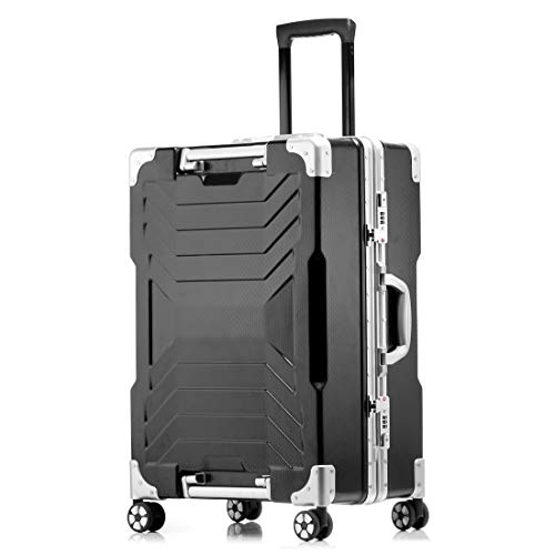 SHINING KIDS Gepäck Hartschalen Trolley Gehäuse Kratzfester Aluminium Rahmen Passwort Koffer Innovative Hubbox Griff 28 In,Black -