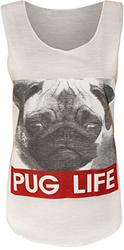 Purple Hanger - Damen Hunde Gesicht 'Pug Life' Slogan Aufdruck Rundhalsausschnitt Stretch Ärmelloses T-Shirt Oberteil - EU 40-42, Weiß (T-shirt Mops Weiße Neue)
